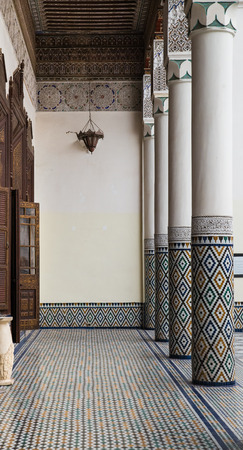 craft on marble: The marble craft and wooden painting of corridor at Marakesh museum in Marrakesh
