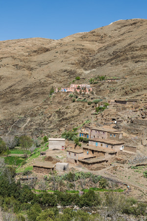 wold: The Moroccan traditional house made from soil on the mountain in Morocco on the way from Marrakesh to Quarzazate
