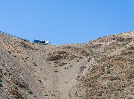wold: Truck on the road on Atlas from Marrakesh to Quarzazate in Morocco
