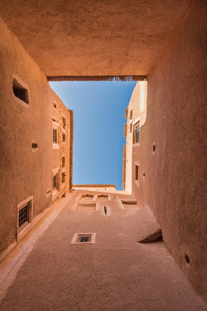 skylight: The skylight from bottom to top view of Kasbah de Taourirt with blue sky in Quarzazate, Morocco