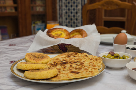 fes: The traditional arabian breakfast mixed with western food in Fes, Morocco