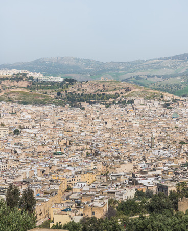 The aerial view of Fes city town called Medina in Morocco
