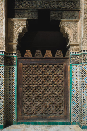 craft on marble: The craft wooden door of Bau Inania Merdasa in Fes, Morocco
