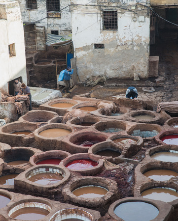 fes: Fes, Morocco - Mar 19: The worker prepare leather in Chouara Tannery on March 19, 2014 in Fes, Morocco