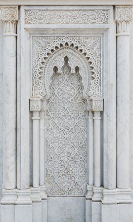 The marble carving of Mausoleum of Mohammed V in Rabat, Morocco