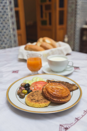 western food: The traditional arabian breakfast mixed with western food in Fes, Morocco