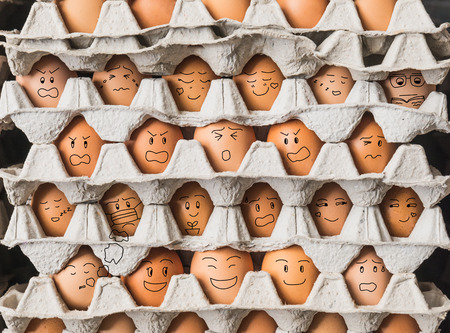 The funny egges with emotion as people live in condominium