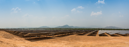 solar farm: The solar farm for green energy in the field in Thailand as panorama picture
