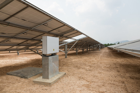 control box: The control box of solar farm for green energy in the field in Thailand Stock Photo