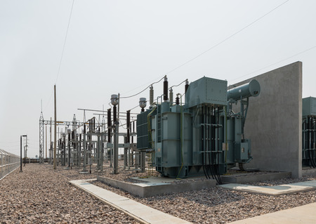 three phase: The power transformer and high voltage equipment in the outdoor electrical substation yard