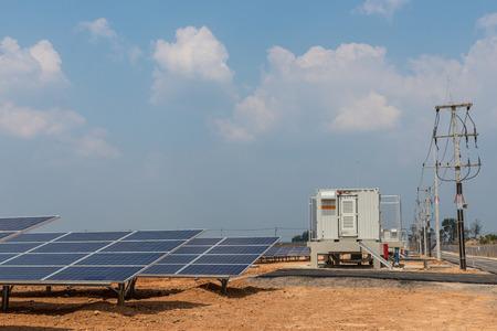 solar farm: The solar farm for green energy in the field in Thailand