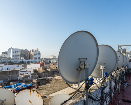 The satellite dish on the roof top of building in Casablanca, Morocco Stock Photo