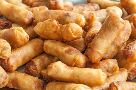 The group of spring roll in Thai style as background Stock Photo