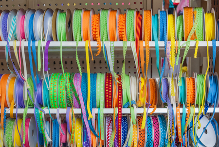 The group of colorful ribbons for decoration as background
