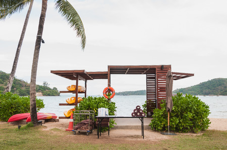 The kayak station on the beach near sea in Phuket, Thailand