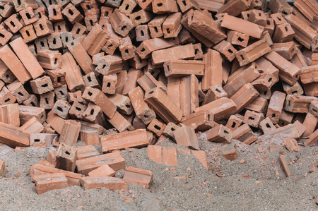 The pile of brick and sand for construction as background