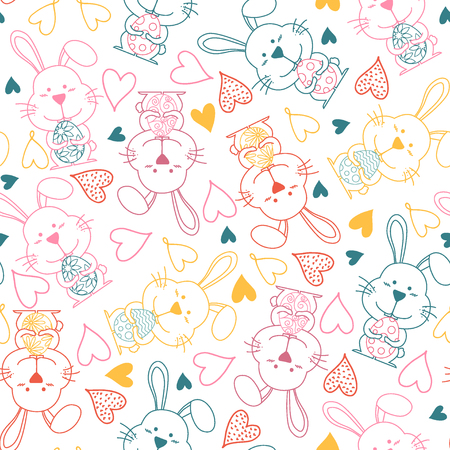 Cute bunny rabbit seamless pattern vector background. Creative nursery background. Perfect for kids design, fabric, wrapping, wallpaper, textile, apparel.