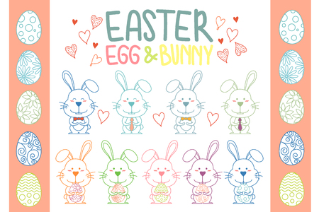 Collection of Easter bunny and egg vector.