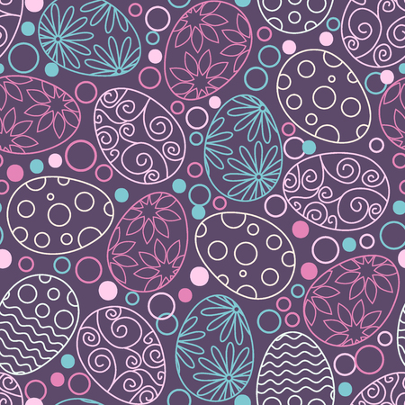 Easter eggs decorative pattern on white background. Happy Easter template with eggs, flowers and leaves. Vector flat illustration.