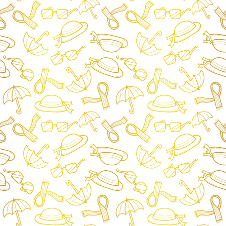 Outline Fashionable female accessories seamless pattern on Sketchy style.Woman wear in outline sketch. Autumn ,winter,spring woman fashion. For fabric,background,backdrop,Wallpaper.Fashion Vector
