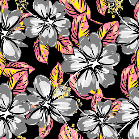 Hibiscus and tropical leaf seamless pattern background.