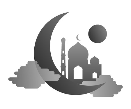 Islamic template, stencil, pattern, grey mosque, icon isolated on white background Vector 免版税图像 - 121334762