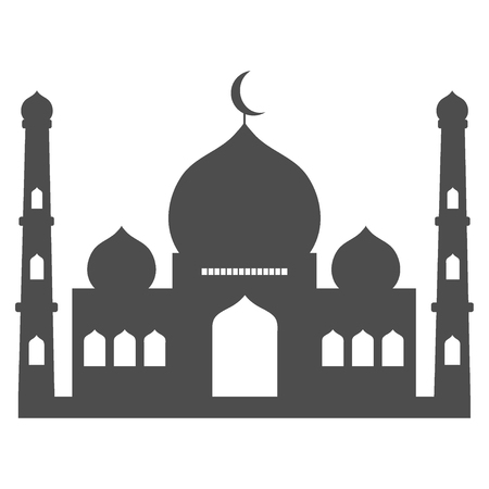 Islamic template, stencil, pattern, grey mosque, icon isolated on white background Vector