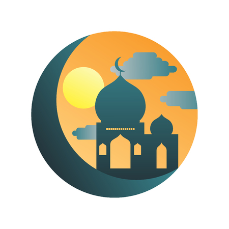Colorful mosque Icon islamic Vector Illustration logo.