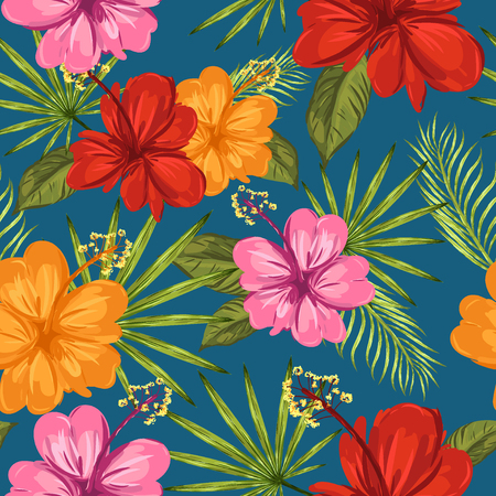 Tropical seamless pattern. Palm trees and hibiscus. Vector illustration Illustration