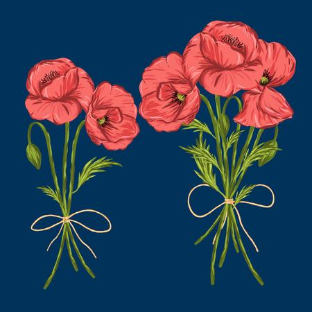 Éléments d'illustration vectorielle isolés de fleur de pavot rouge.