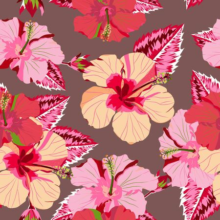 seamless tropical flower ,plant vector pattern background.