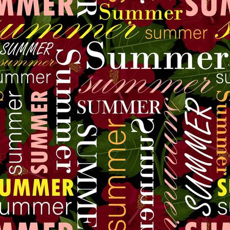 seamless pattern with summer text, colotful vector.