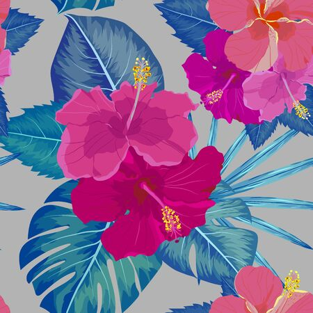 seamless tropical flower ,plant vector pattern background for textile, fabric, etc.