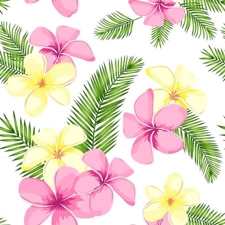 Tropical seamless pattern with palm leaves and flowers. Vector illustration 矢量图像