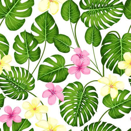 Tropical seamless pattern with exotic palm leaves and tropical flower. Tropical monstera. Hawaiian style. Vector illustration