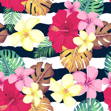 Exotic leaves and flowers on geometrical ornament. Seamless tropical pattern. Vector background