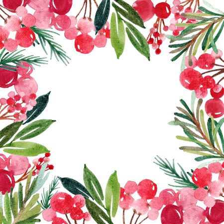 Watercolor Christmas card for text. Illustration for greeting cards and invitations isolated on white background. 免版税图像