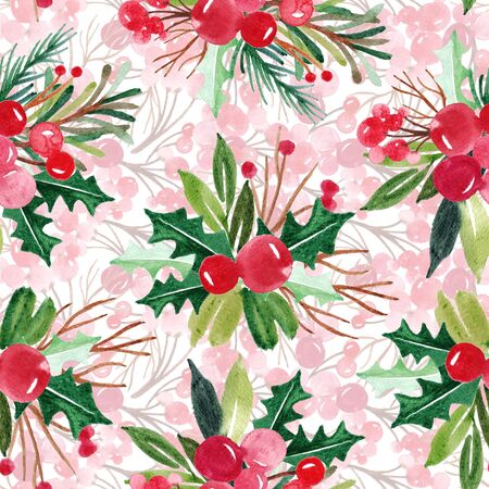 Hand drawn floral winter seamless pattern with christmas tree branches and berries. Watercolor illustration background 免版税图像