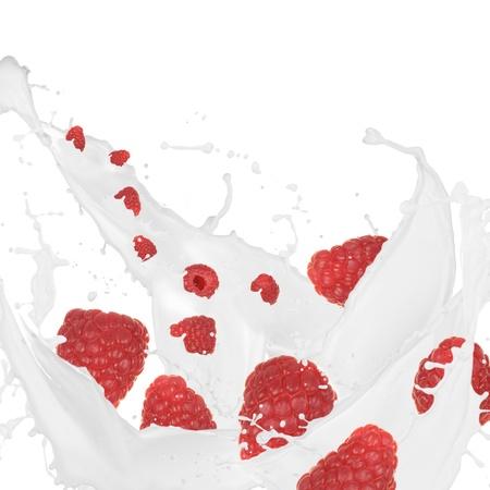 Raspberries in cream splash over white background  photo