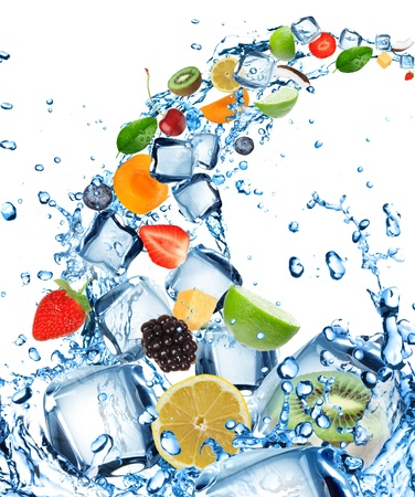 Fresh fruit in water splash with ice cubes  Stock Photo - 14516809