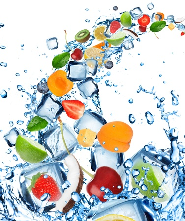 frozen fruit: Fresh fruit in water splash with ice cubes