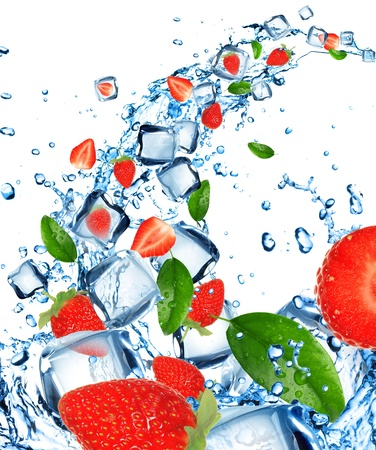 Fresh strawberries in water splash with ice cubes  photo