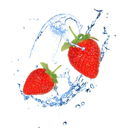 frozen fruit: Strawberies with water splash over white  Stock Photo