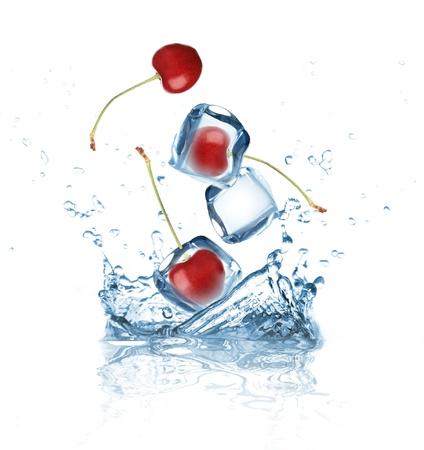 Cherry splashing into water  photo