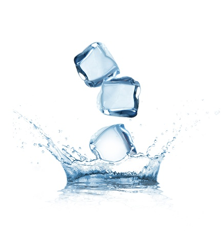 cube: Ice cubes splashing into water over white
