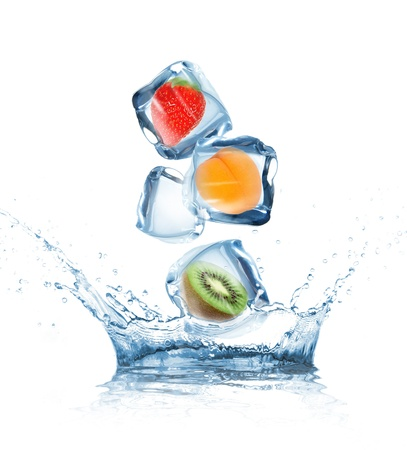 Fruit in ice cubes in motion photo