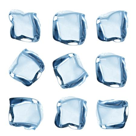 cubos de hielo: Cubos de hielo colección sobre blanco Foto de archivo