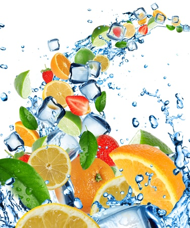 Fresh citruses in water splash with ice cubes  photo