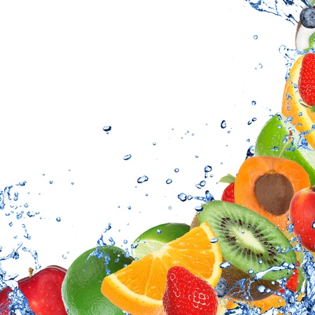 Fresh healthy fruit background with splashing water  photo