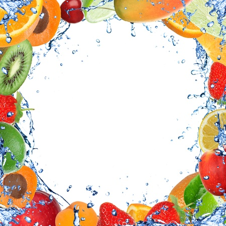 Fresh healthy fruit background with splashing water  photo